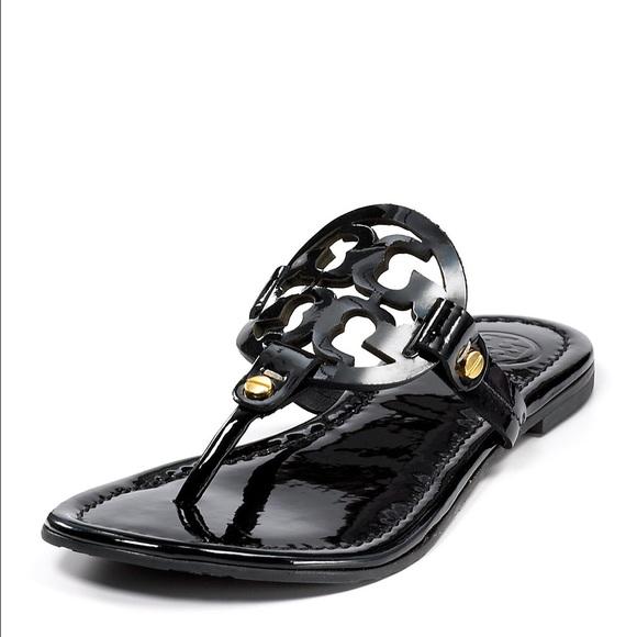 dafe6ad8c118f Tory Burch Miller Sandal in Black Patent Leather. M 579e8b0736d594e845012ea5