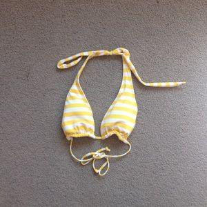 Reversible bikini yellow and white striped flower