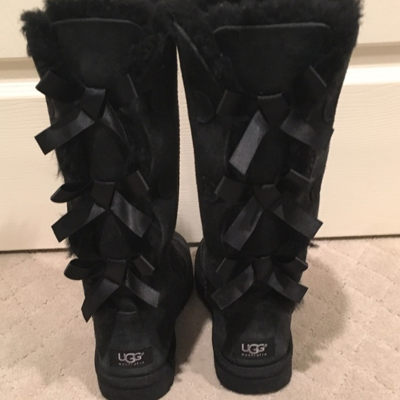 Ugg Shoes Black Bailey Bow Tall Boot Custom Made Poshmark