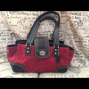 Coach Red with Brown Trim Bag