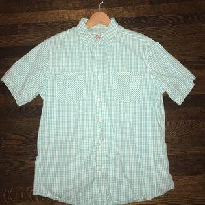 Blue Short Sleeve Button-Down Shirt