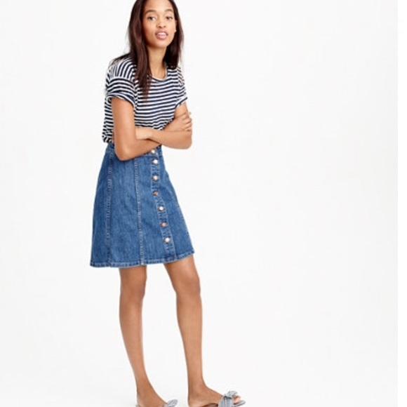 7239fa8bb0d J Crew Button Front Denim Skirt