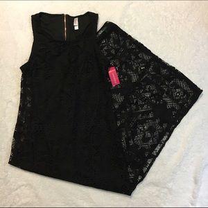 XHILARATION BLACK SHEER LACE LINED MAXI DRESS