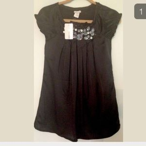 Sally Miller Other - SALLY MILLER COUTURE BLK SATIN JEWELED GIRLS DRESS