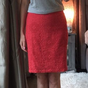 The Limited coral lace skirt