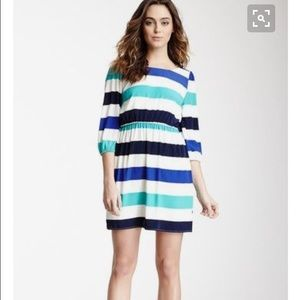 Fully lined striped dress with v back