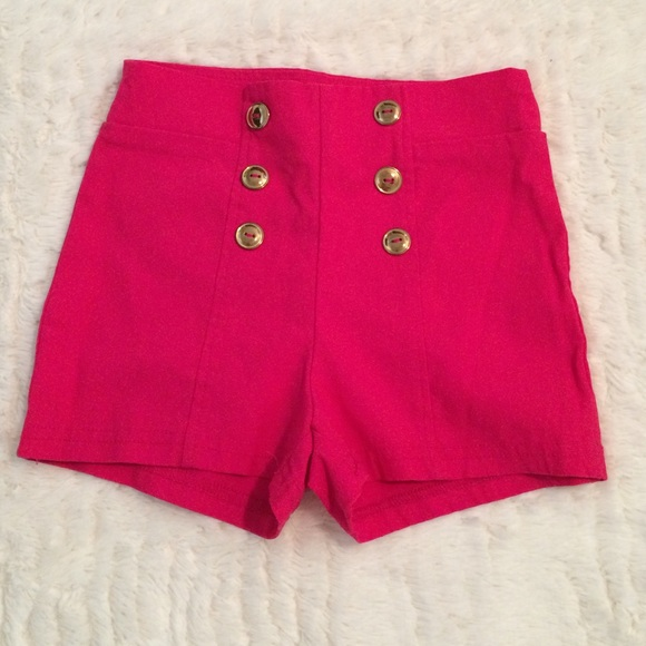 67% off Charlotte Russe Pants - High waisted Hot Pink Shorts from ...