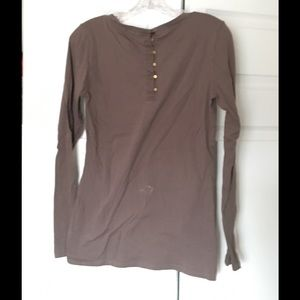 Gap Tops - Brown Gap Long Sleeve Tee w/ Brass Buttons Large