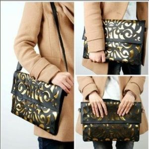 Black and gold oversized envelope clutch