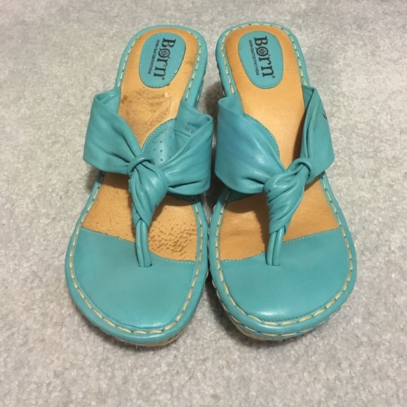 Born Shoes - Born Turquoise Leather Sandal Wedges