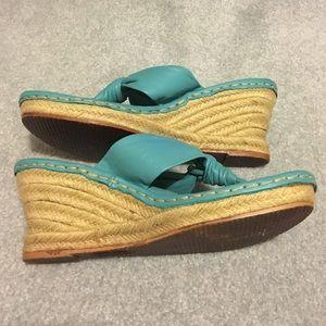 Born Shoes - Born Turquoise Leather Sandal Wedges