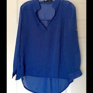 Tops - Blue oversized sheer tunic Size Juniors XL