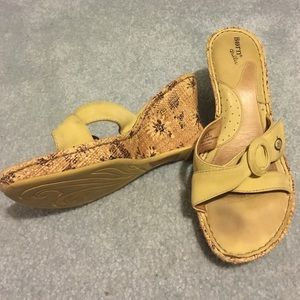 Born Yellow Leather Sandal Wedges