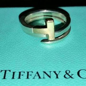TIFFANY & CO 18k GOLD SILVER T SQUARE RING 6.5
