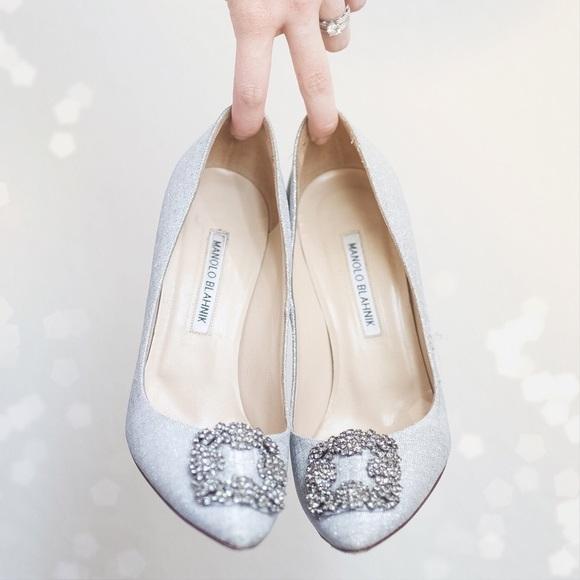7ec37b207343 Manolo Blahnik Hangisi silver heels 38.5. M 579eadc55c12f8f7d709d9bb