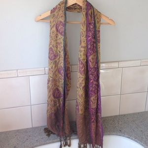 Purple and gold patterned pashmina scarf shawl