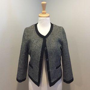 Zara black and white wool snap button crop jacket