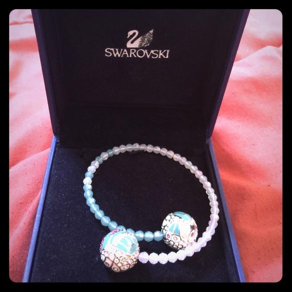 SWAROVSKI pink & turquoise crystal bracelet.