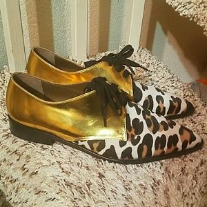 Marni metallic leather and animal print lace up.