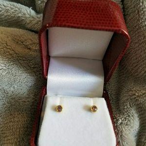 Jewelry - Womens Gold Pink pierced earrings