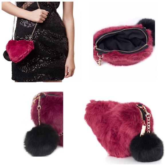 be9e9f83bd FIRM   Topshop Faux Fur Heart Crossbody Bag
