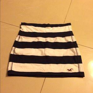Hollister Navy & White Striped Skirt