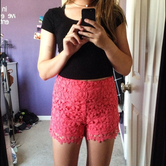 59% off Hollister Pants - Hollister Coral High-Waisted Lace Shorts ...
