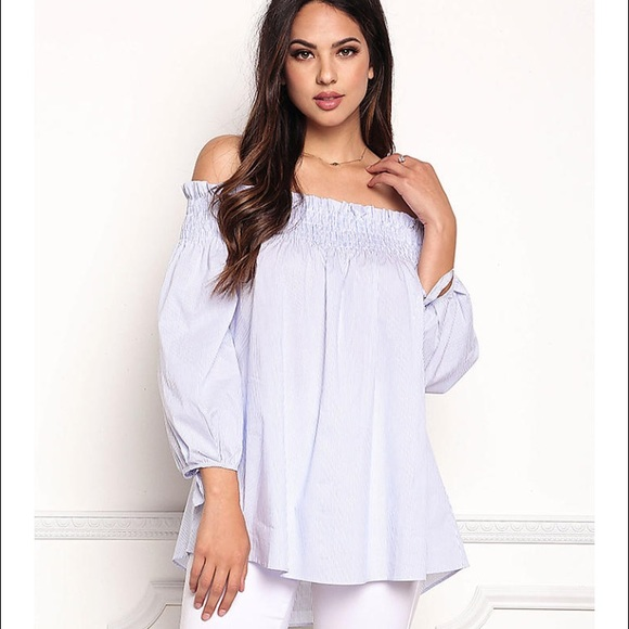 94bb74d1f211ae Love Culture Tops - Love Culture Striped Smocked Off-Shoulder Blouse