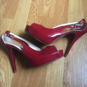 Guess Red Open Toe Heels