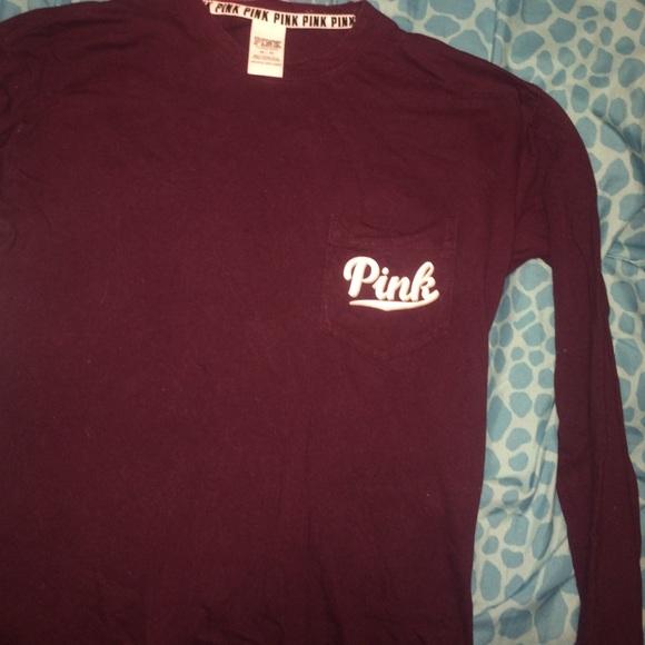 50% off PINK Victoria's Secret Tops - long sleeve burgundy PINK ...