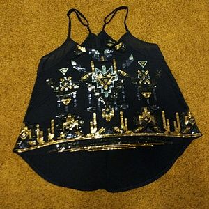 Navy Sequined High Low Keyhole Back Tank