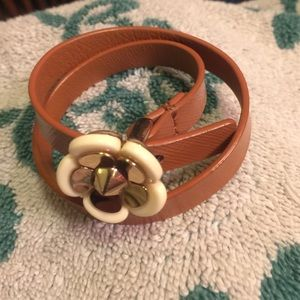 Tory Butch flower leather wrapped bracelet