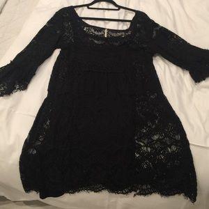 Free people black lace / crochet dress
