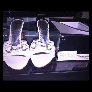 White Bebe heels - size 6
