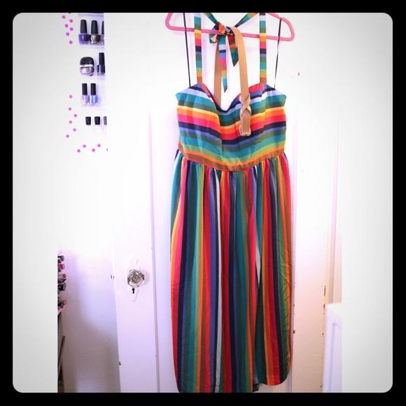 ModCloth Dresses | Retro Rainbow Dress Size 2x Plus Size | Poshmark