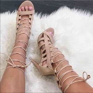 Shoes - ✨RARE✨ NWOT Nude Beige Strappy Lace Up Cage Heels