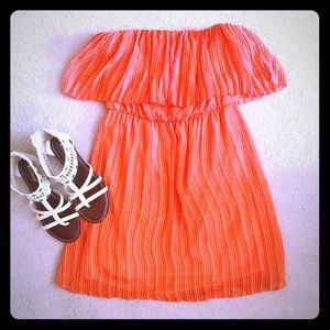 Strapless Ruffle Orange Dress
