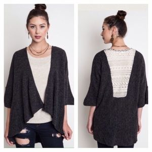 Charcoal Lace Back Sweater