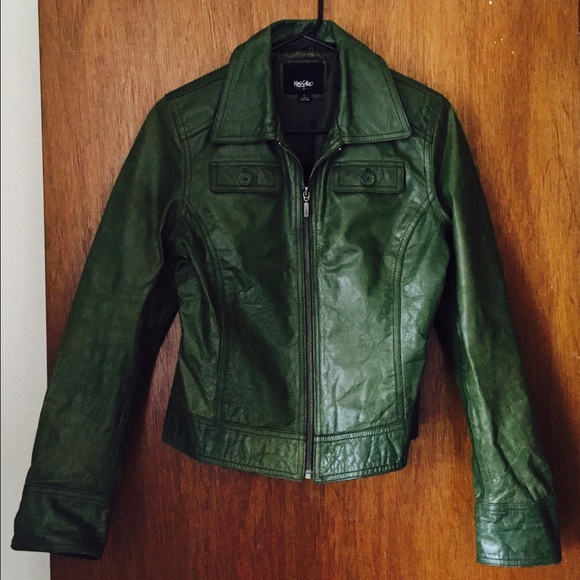 Mossimo Supply Co Jackets Coats Mossimo Womens Green Leather