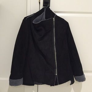 Black jacket with grey inner lining