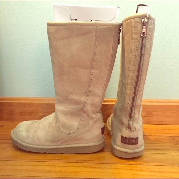 Australia 'Knightsbridge' Back Zip Camel UGG Boots