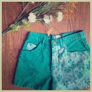 HP{Moda Int'l} High-Waisted Green Jean Shorts