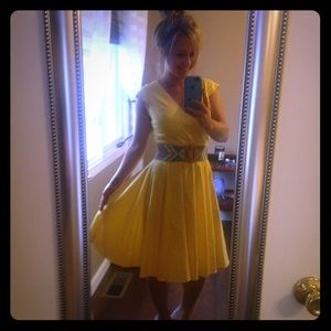 Yellow Calvin Klein cocktail dress