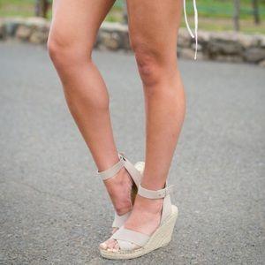 Kensie Shoes - Kensie Taupe Suede Espadrille Strap Wedges
