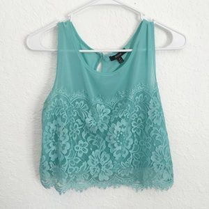 Tops - Lace Cropped Tank