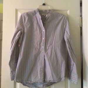 Madewell Collarless Bib Shirt in Stripe