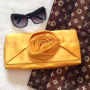 J. Crew Handbags - J. CREW Gold Mustard Yellow Satin Flower Clutch