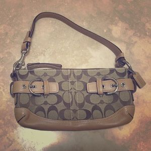 {Coach monogram beige & tan handbag}