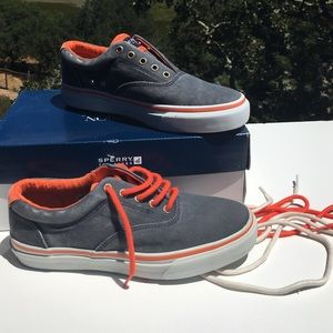 Sperry Striper Neon Navy Orange Men's 8 Sneakers