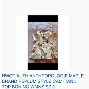 NWOT ANTHROPOLOGIE MAPLE PEPLUM TANK TOP BONING 2